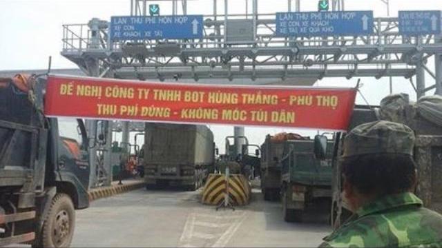 """Lại chặn xe phản đối phí """"cắt cổ"""" ở BOT Phú Thọ"""