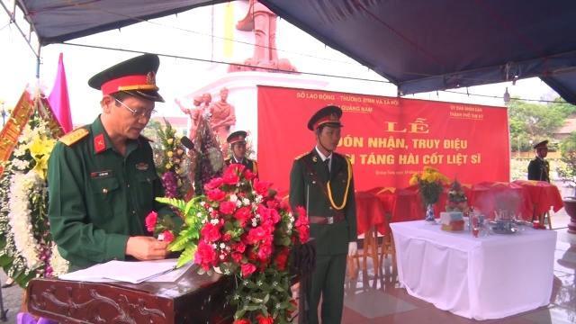 Quảng Nam tổ chức Lễ truy điệu và an táng 7 hài cốt liệt sĩ
