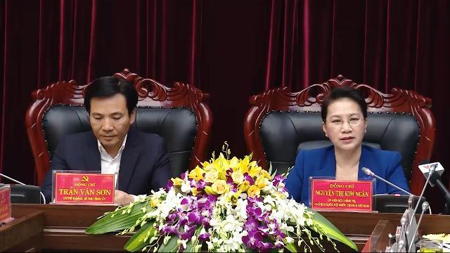 Chủ tịch Quốc hội Nguyễn Thị Kim Ngân làm việc với Ban Thường vụ Tỉnh ủy Điện Biên