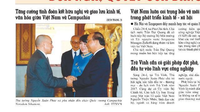 Điểm báo Online Hàng Ngày: Thủ Tướng Nguyễn Xuân Phúc Yết Kiến Quốc Vương Campuchia