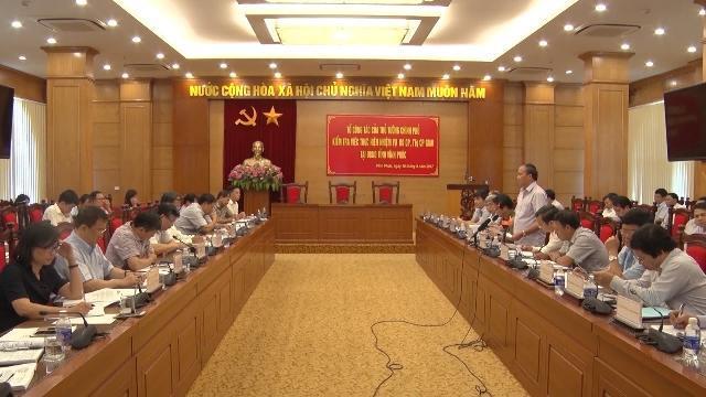 Tổ công tác của Thủ tướng Chính phủ kiểm tra việc thực hiện các nhiệm vụ tại Vĩnh Phúc