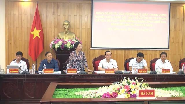 Đoàn công tác của Hội đồng lý luận Trung ương làm việc với tỉnh Hà Nam