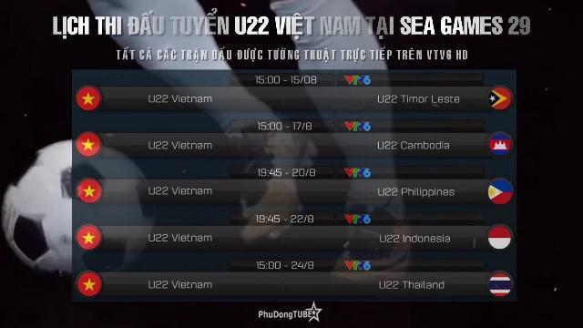 Lịch thi đấu và trực tiếp tuyển U22 Việt Nam tại SEA Games 29 | Bóng đá nam SEA Games