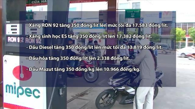 Từ 15h ngày 20/4/2017, giá xăng dầu đồng loạt tăng 350 đồng/lít
