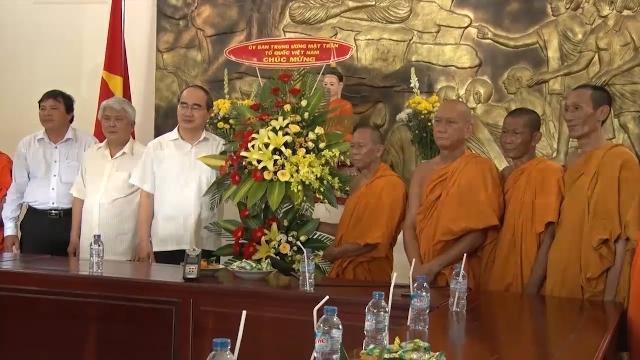 Chủ tịch UB TƯ MTTQ VN thăm, chúc Tết Chôl Chnam Thmây và làm việc với MTTQVN tỉnh Trà Vinh