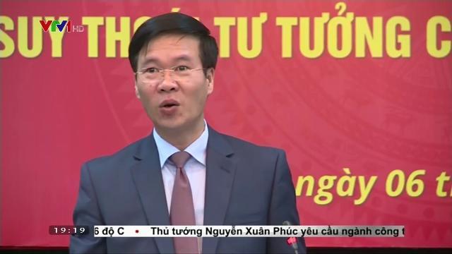 Ông Võ Văn Thưởng tại buổi tọa đàm phát huy vai trò báo chí trong đấu tranh chống suy thoái tư tưởng