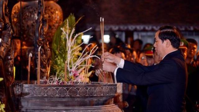 Chủ tịch nước Trần Đại Quang dự lễ khai ấn đền Trần