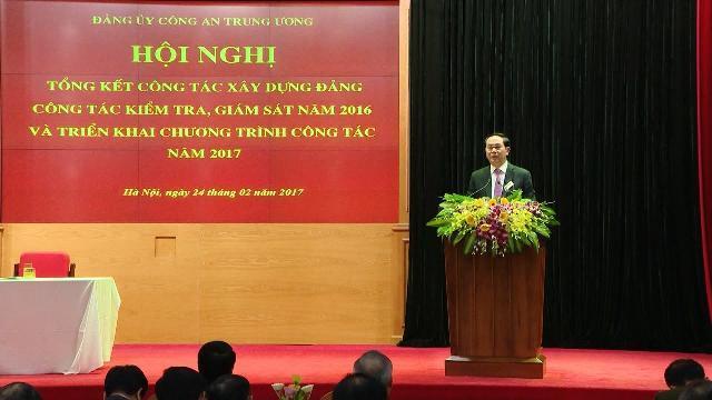 Chủ tịch nước Trần Đại Quang dự Hội nghị công tác xây dựng Đảng bộ Công an