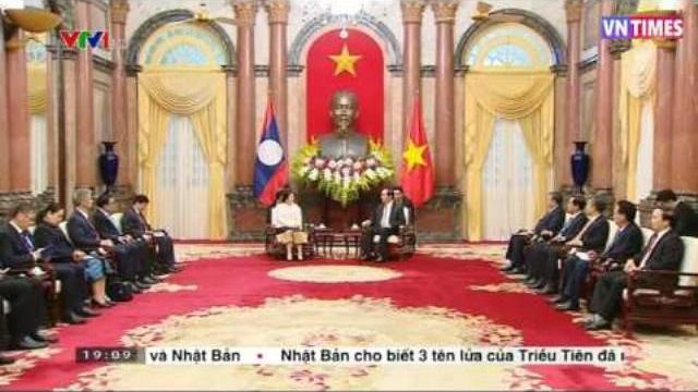 Chủ tịch nước Trần Đại Quang tiếp Chủ tịch Quốc hội Lào Pany Yathotou