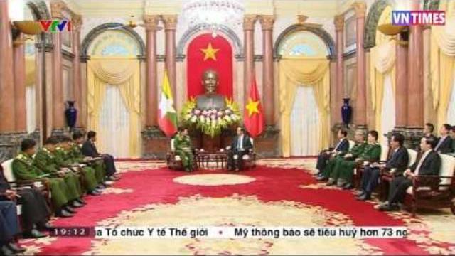 Chủ tịch nước Trần Đại Quang tiếp Thống tướng Myanmar Min Aung Hlaing