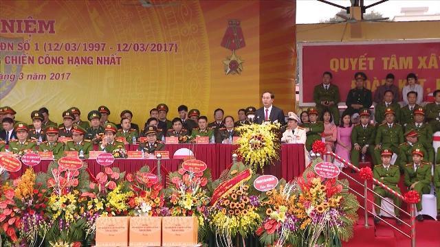 Chủ tịch nước Trần Đại Quang dự Lễ kỷ niệm 20 năm Ngày truyền thống lực lượng Cảnh sát Cơ động