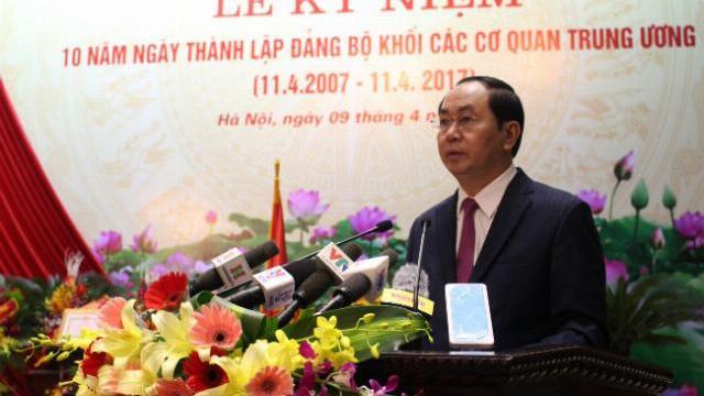 Chủ tịch nước Trần Đại Quang dự lễ kỷ niệm 10 năm thành lập các Đảng bộ khối các cơ quan TW