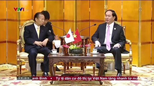 Chủ tịch nước Trần Đại Quang tiếp Tổng thư ký Đảng dân chủ tự do Nhật Bản