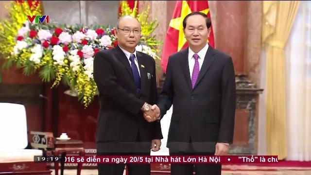 Chủ tịch nước Trần Đại Quang tiếp Chủ tịch Quốc hội Myanmar