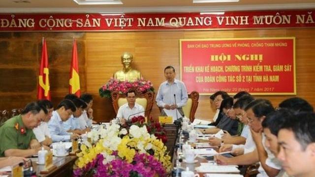 Đoàn công tác số 2, Ban Chỉ đạo TƯ về phòng, chống tham nhũng làm việc tại Hà Nam