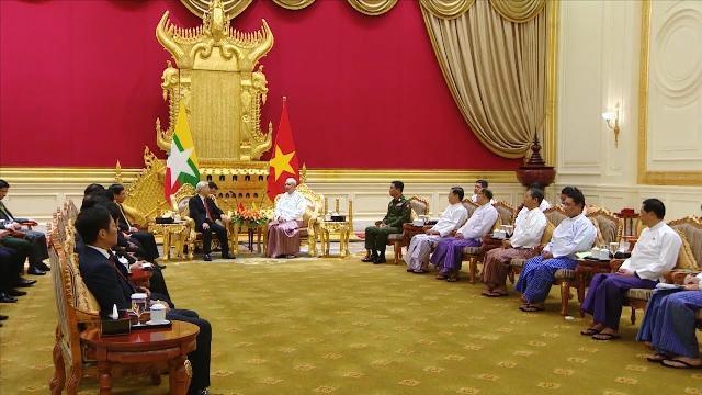 Tổng Bí thư Nguyễn Phú Trọng hội đàm với Tổng thống Myanmar