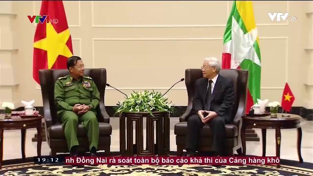 Tổng bí thư Nguyễn Phú Trọng tiếp tổng tư lệnh các lực lượng vũ trang Myanmar
