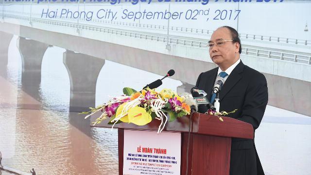 Thủ tướng Nguyễn Xuân Phúc tại lễ khánh thành cầu vượt biển dài nhất Đông Nam Á