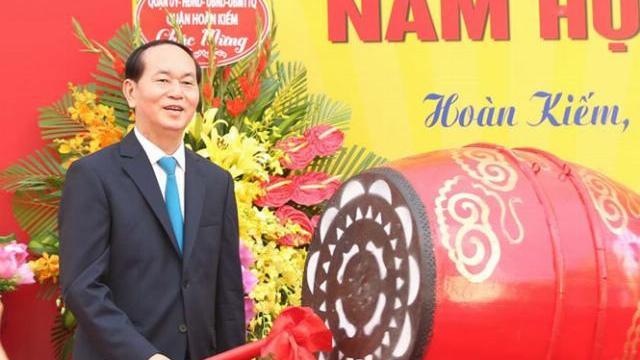 Chủ tịch nước Trần Đại Quang phát biểu tại lễ khai giảng tại Trường THCS Trương Vương