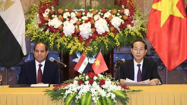 Chủ tịch nước Trần Đại Quang tiếp Tổng thống Ai Cập thăm cấp nhà nước tới Việt Nam