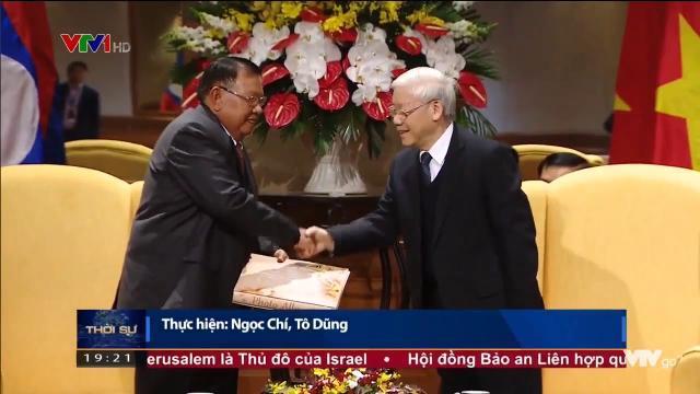 Tổng bí thư Nguyễn Phú Trọng tiễn Tổng bí thư, chủ tịch nước Lào rời Hà Nội