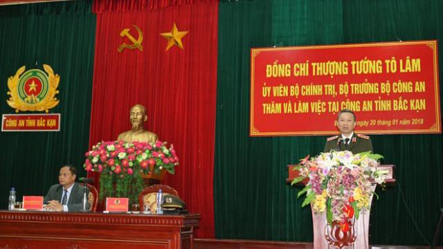 Bộ trưởng Tô Lâm làm việc với Công an tỉnh Bắc Kạn