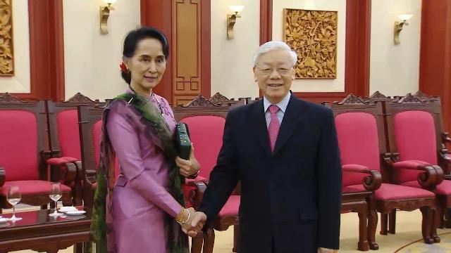 Tổng Bí Thư Nguyễn Phú Trọng Tiếp Cố Vấn Myanmar Aung San Suu Kyi
