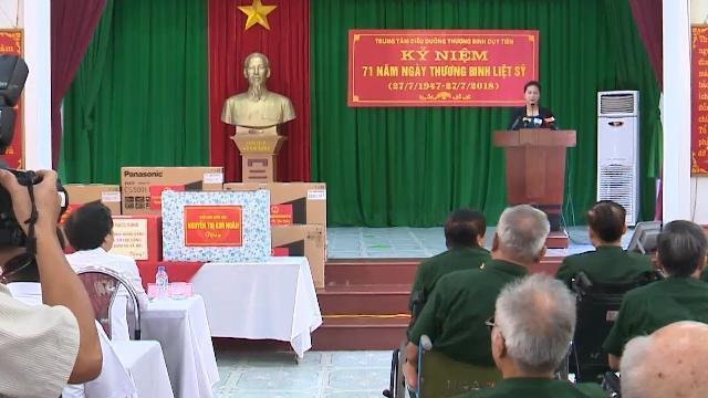 Chủ tịch Quốc hội thăm, tặng quà các trung tâm điều dưỡng thương binh tỉnh Hà Nam