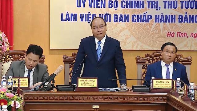 Thủ tướng Nguyễn Xuân Phúc làm việc với Ban Chấp hành Đảng bộ tỉnh Hà Tĩnh