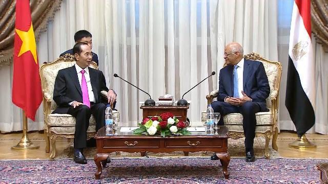 Chủ tịch nước Trần Đại Quang hội kiến Chủ tịch Quốc hội Cộng hòa Arab Ai Cập