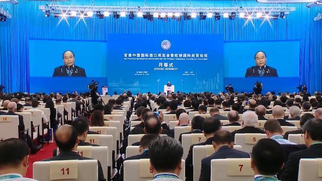 Thủ tướng Nguyễn Xuân Phúc phát biểu tại Lễ khai mạc Hội chợ nhập khẩu quốc tế Trung Quốc