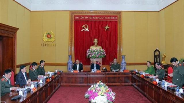 Tổng Bí thư, Chủ tịch nước Nguyễn Phú Trọng dự hội nghị Thường vụ Đảng uỷ Công an Trung ương