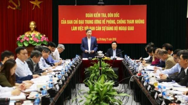 Ban Chỉ đạo Trung ương về phòng, chống tham nhũng làm việc tại Bộ Ngoại giao