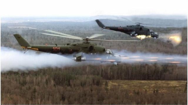 Xem trực thăng Nga oanh tạc, phá hủy mục tiêu