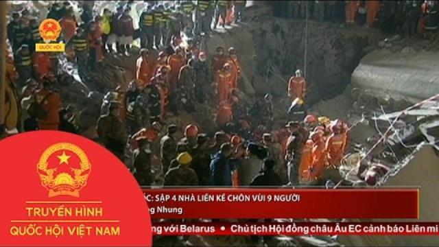 4 nhà liền kề bất ngờ đổ sập chôn vùi 9 người thuộc hai gia đình