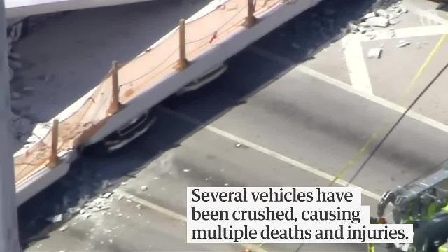 Sập cầu đi bộ vừa khánh thành ở Mỹ, ít nhất 6 người chết