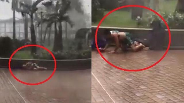 Gió thổi bay 2 người ở Hong Kong, Trung Quốc khi bão MANGKHUT đổ bộ