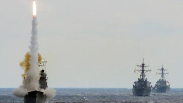 Tàu chiến Mỹ bắn Tomahawk vào Syria hồi tháng 4/2018.