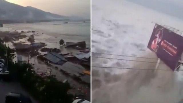 Khoảnh khắc sóng thần 6 m cuốn phăng nhà cửa ở Indonesia