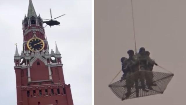 Trực thăng quân sự bí ẩn bay qua điện Kremlin