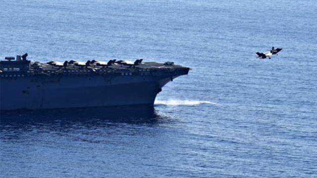 Hình ảnh tàu đổ bộ Mỹ trong phóng sự của đài truyền hình Philippines.