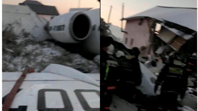 Hiên trường vụ rơi máy bay kinh hoàng tại Kazakhstan làm ít nhất 7 người chết