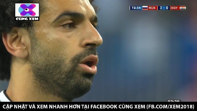 Trên chấm phạt đền, Salah ghi bàn rút ngắn tỷ số xuống 1-3 cho Ai Cập