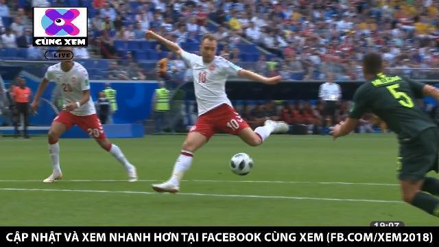 Eriksen bắt Volley đẹp mắt mở tỉ số cho Đan Mạch ngay phút thứ 7