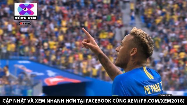 Neymar ghi bàn thắng nâng tỉ số cho Brazil ngay phút bù giờ thứ 6.