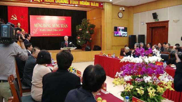 Tổng Bí thư Nguyễn Phú Trọng gặp mặt, chúc Tết Văn phòng Trung ương Đảng