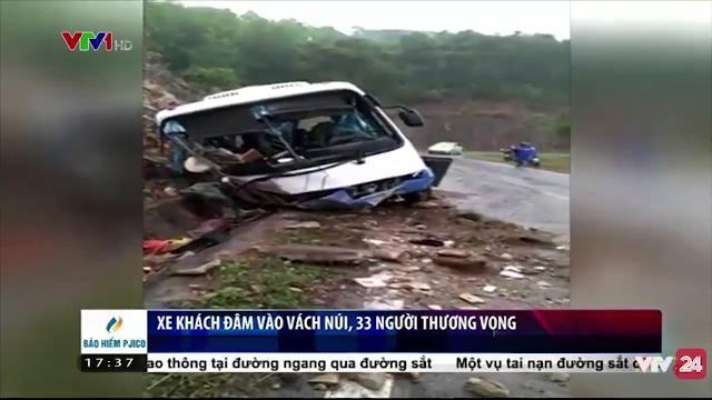 Xe khách 35 chỗ đâm vào vách núi, 33 người thương vong