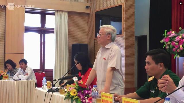 Tổng bí thư Nguyễn Phú Trọng đề cập đến Hội nghị Trung ương bàn chuyên đề tổ chức bộ máy, trong cuộc tiếp xúc cử tri tháng 5/2017
