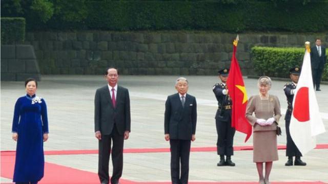 Nhiều báo Nhật đưa tin về lễ đón Chủ tịch nước Trần Đại Quang