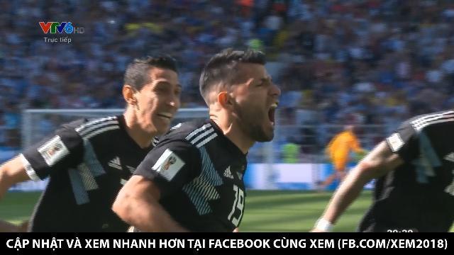 Kun Auguero ghi bàn đẳng cấp. Argentina mở tỉ số
